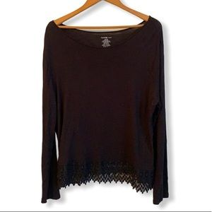 Black long sleeve lace detailed blouse XL